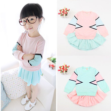 New Children's Wear Spring Girls Baby Pure Fresh Long Sleeve + Short Skirt Suit Kids Clothing Sets Pink Blue(China)