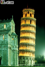 Canvas Prints (Leaning Tower) Wholesale home decoration modern art picture Night view oil painting for sale Dd-6-jz-(163)