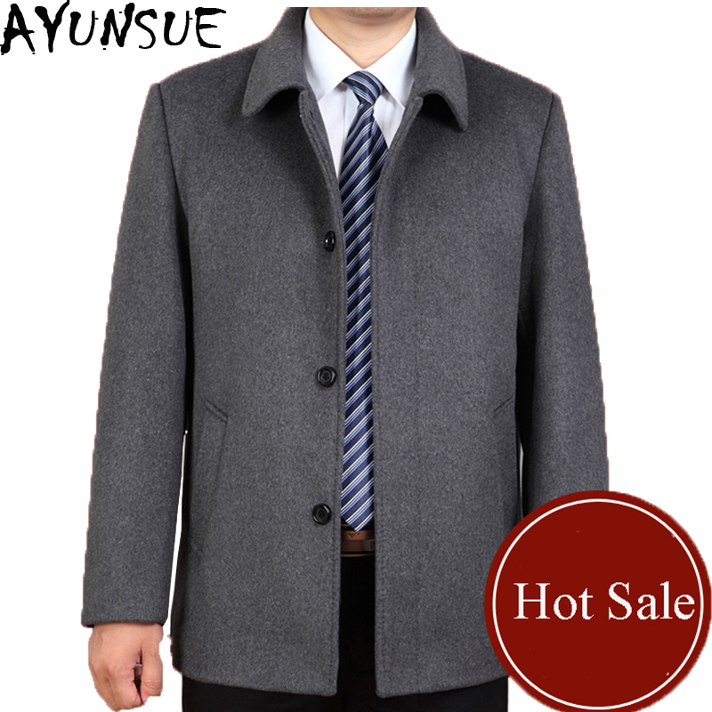 AYUNSUE Men's Pea Coat 2017 New Business Casual Jacket Wool Coat Trench Coat Male Overcoat High Quality Plus Szie 3XL LX785(China (Mainland))