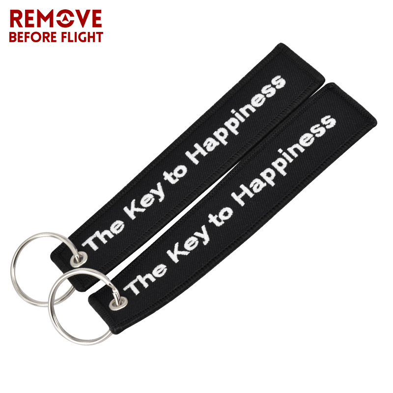 The Key to Happiness Key Chain Bijoux Keychain for Motorcycles and Cars Gifts Key Tag Embroidery Key Fobs OEM Key Ring Bijoux (8)