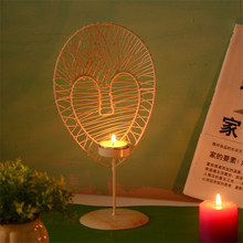 2017 Creative Moroccan Iron Heart Shape Hollow rCandlestick Candle Holder Holder Wedding Home Decoration Candle Lantern Holder