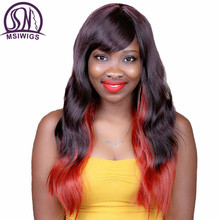 MSIWIGS Brazilian Natural Wave Ombre Synthetic Wigs for Black Women Mix Color Orange Hair Cosplay Wig with Bangs Heat Resistant