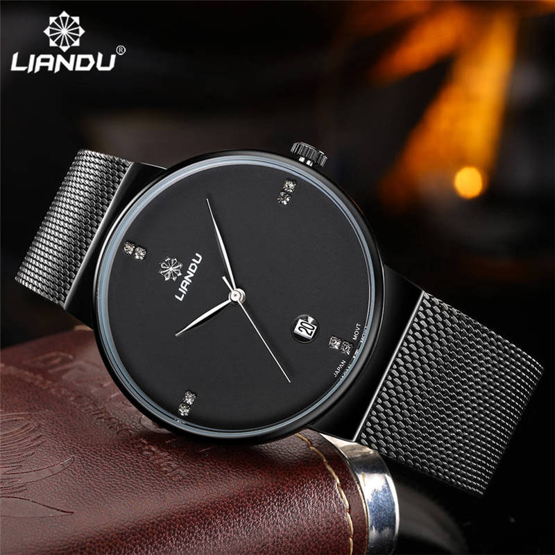 LIANDU Brand Luxury Men's Watch Mesh Steel 30m Waterproof Ultra Thin Clock Male Casual Quartz Watches Men Sport Wristwatches
