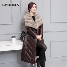 Women Leather Jackets Leather Down Jackets Faux Mink Fur Coats Ladies Thick Padded Winter Overcoats Long Outfit Female Outerwear(China)