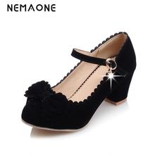 NEMAONE Big Size Ladie's Spring/ Autumn Leisure Low Heel Shoes Women Sweet Bowtie Pumps Causal Solid Shoes For Girls Women Shoes(China)