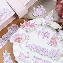 Japanese Style Cherry Blossom Stickers Decorative Stationery Craft Stickers Scrapbooking DIY Stick Label(China)