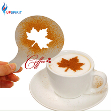 Upspirit 16Pcs/Set Mold Coffee Milk Cake Cupcake Stencil Template Coffee Cappuccino Template Gusto Strew Pad Duster Spray Tools(China)