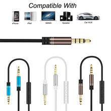 3.5mm Male To Male AUX Audio Cable Control Talk Headphone Audio Cable Lead With Mic For Monster