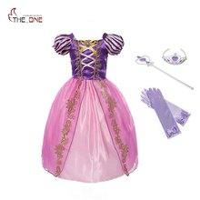 MUABABY Girls Rapunzel Dress Children Summer Princess Cosplay Costume Snow White Cinderella Belle Tangled Halloween Party Dress
