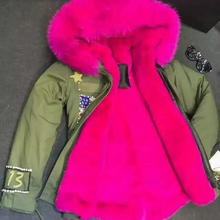 Gold Zipper USA flag Fashion beading hot pink coat,mr&mrs with number13, short fushia ladies biggest collar mrs Diamonds outwear(China)