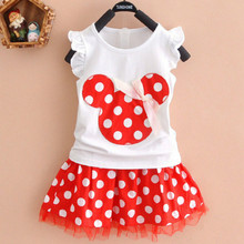 Lovely Kids Baby Girls Minnie Mouse Party Dress Vest DressToddler Clothes Girls Dress 1-4Y(China)