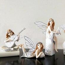 Resin Angel Beautiful Music Girl Flower Fairy Figurines Statues Home Decor  Miniature Wedding Decoration Valentine s Day Gifts 74836ada7b63