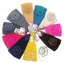 Women fashion crochet knitted headband headwrap hairband with beaded flower decro