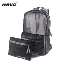 NAVO Mesh Backpack Lightweight Foldable Bagpack See Through Breathable Travel Solid Color Casual School Bag Fold Backpack