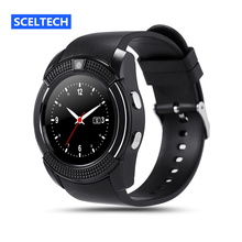 SCELTECH V8 Smart Watch Clock With Sim TF Card Slot Bluetooth Connectivity for Apple iPhone Android Phone Smartwatch Watch