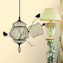 2017 Hot Sell Bird Cage Vinyl Wall Stickers Bedroom Living Decoration Tree Branch Removable Diy Home Decal Animal Mural Art
