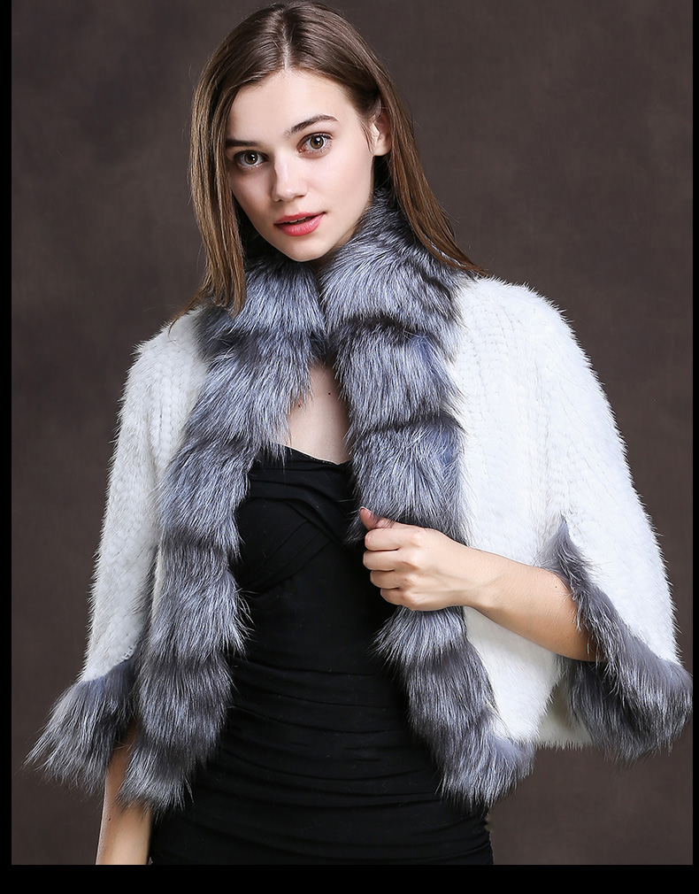 Winter Shawl Wrap Poncho Real Knit Mink Fur shawl With Fox Trimming Real fur Jacket coats party 2017 new (19)