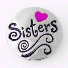 MN1386  sisters  Hot Sale Metal Snap Button  For Snap Jewelry  fit 18mm snaps