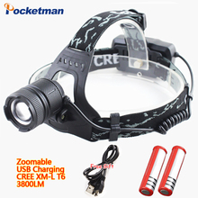 Headlamp USB Rechargeable Headlight Zoomable CREE XM-L T6 LED Flashlight 3 Models Waterproof Torch 18650 battery Riding light(China)