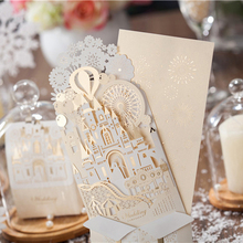 (10 pieces/lot) WISHMADE Wedding Decoration 3D Castle Shape Pop-up Wedding Invitation Card Champagne Color Invitations CW5093