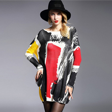 Women's Dress 2016 Brand New Autumn Winter Wool Blend Knitwear Oversized Long Sleeves Slash Neck Pullovers Print Jumpers 6126(China)