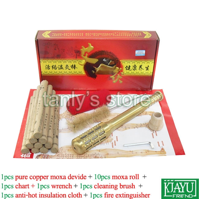 Wholesale Pure Copper Big Size Body Moxibustion sticks Moxa cone 17pieces/set (gift chart &amp; 10 pcs high quality moxa roll)<br><br>Aliexpress
