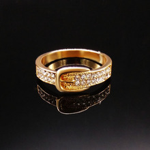 2016 New Belt Gold Rings for Women Gift Fashion Best Friends Punk Party Crystal Ring Jewelry Wholesale usa
