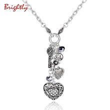 Brightly Punk Style Long Necklace Antique Silver Plated Heart & Keys Pendant Statement Necklace for Women Valentine's Day Gifts(China)