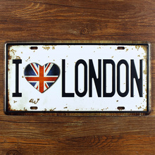 "vintage home decor metal Tin signs ""I LOVE LONDON"" wall sticker decorative metal for bar wall art craft vintage 15X30 CM"