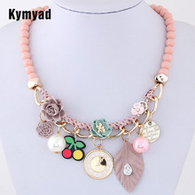 Kymyad Bohemian Beads Choker Necklace Women Multi Element Necklaces & Pendants Collier Femme Maxi Statement Necklace Collares(China)