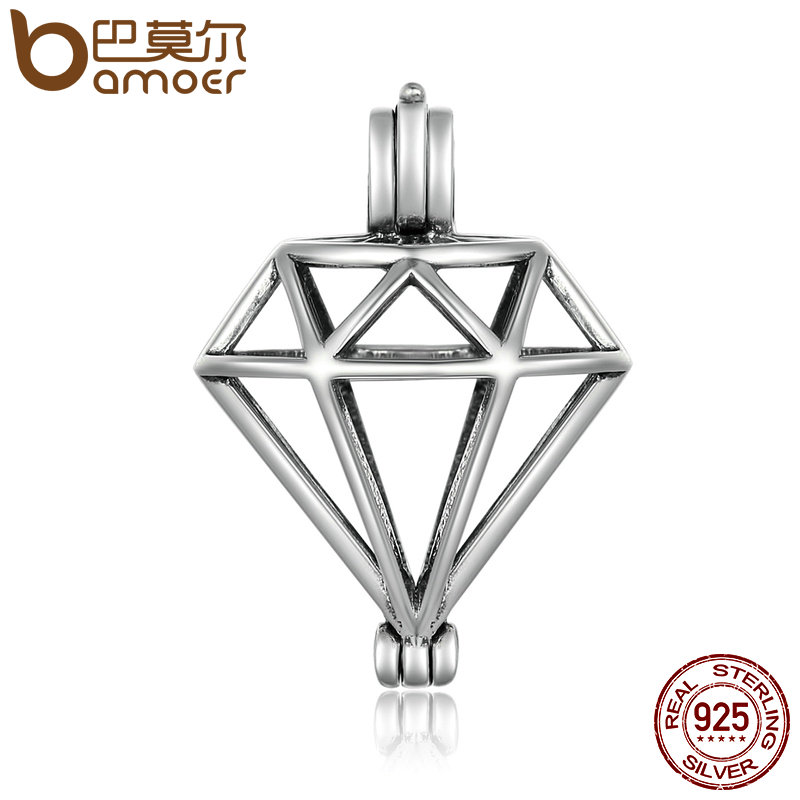 BAMOER Genuine 925 Sterling Silver Geometric Shape Cage Pendant Fit Chain Necklaces Women Authentic Silver Jewelry SCP014