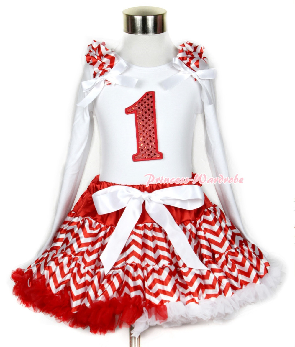 Xmas Red White Wave Pettiskirt 1st Sparkle Red Birthday Print White Long Sleeve Top Red White Wave Ruffles White Bow MAMW286<br>