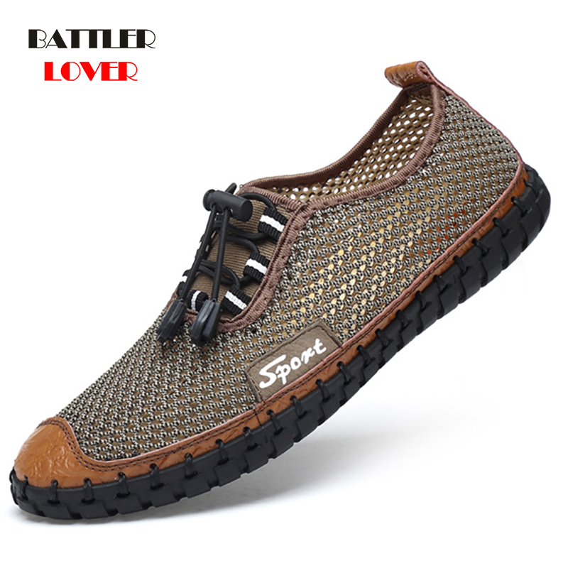 Summer Men Breathable Mesh Shoes Mens Casual Shoes Brand Fashion Sandals Comfortable Mans Rubber Water New 2019