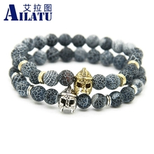 Ailatu Wholesale 8mm Weathering Onyx Stone Beads Men Fashion Helmet Spartan Bracelet(China)