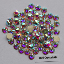 1440pcs/Lot, AAA Quality New Facted (8 big + 8 small) ss16 (3.8-4.0mm) Crystal AB Nail Art Glue On Non Hotfix Rhinestones