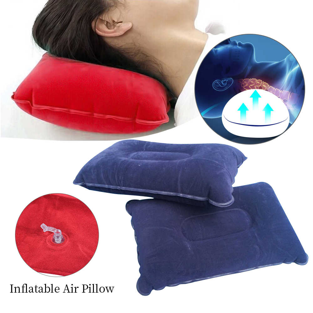 FUNIQUE Travel Pillow Air Cushion Inflatable Double Sided Flocking Cushion Car Plane Hotel Head Rest U Shaped Bed Sleep Pillow