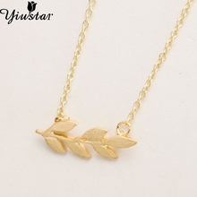Yiustar Cheap Fashion Jewelry Pretty Organic Laurel Leaf Necklace Chain Leaf Design Pendant Necklaces & Pendants XL084(China)