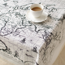 Home Europe Style Table Cloth, Dinning Cover, Cotton Linen Kitchen Meal Square Table Cover Retangle Coffee Tea Mediterranean Map