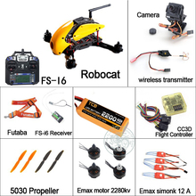 RC Helicopter Dron Robocat 270mm Quadcopter FS I6 transmitter CC3D Flight Controller Emax Brushless Motor Simonk Esc Free Ship(China)