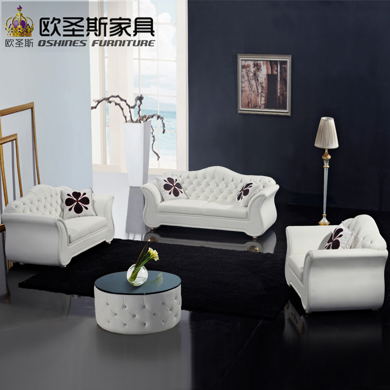 China Factory Sale Euro Hotel Pure White Chesterfield Furniture Living Room New Model Cowhide Pvc Leather