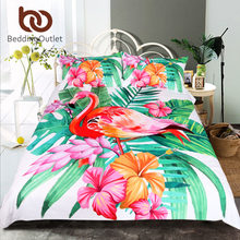 BeddingOutlet Flamingo Bedding Set Tropical Plant Quilt Cover King Size Home Bed Set Flower Print Pink and Green Bedclothes 3pcs(China)