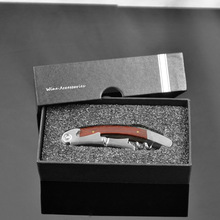 Wood Handle Stainless Steel Corkscrew Double Hinge Red Wine Bottle Opener With Delicate Gift Box Abridor De Garrafa Tools ZA1648