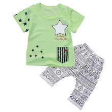2017 KIDS Summer Baby Boy Clothes Kids Short Sleeve t-shirt+shorts 2pcs Set letter pattern boys clothing children clothing set(China)