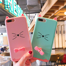From Jenny Cute Japan 3d Kitty Cat phone Case For iPhone 6 6s 6plus 6splus 7 7plus 7+ Casing Back Cover New Color Silicon Soft(China)