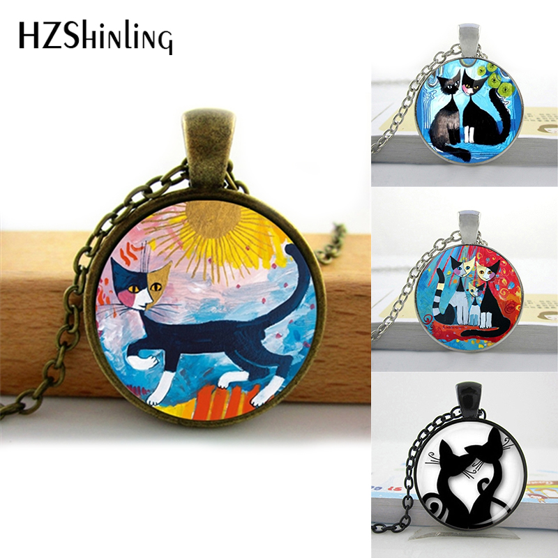2016 Colorful Cats Necklace Rosina Wachtmeister Cats Pendant Silhouette Cats Jewelry Glass Dome Necklace HZ1