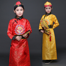 children The Qing Dynasty Costume Boy Child Chinese Hanfu with Hat Embroidered Dragon Chinese Traditional Costume kids robe 89