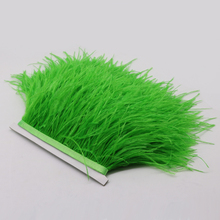 Beautiful Lime Green Ostrich Feathers Fringe Trims 1yard Performance Carnival Costume Decoration Plumage Plume Ribbons