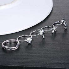 Popular 5 Pcs/set Starfish Hippocampus Knuckle Joint Ring Set Ocean Rings for Party Vintage Tibetan Silver Ocean Animals