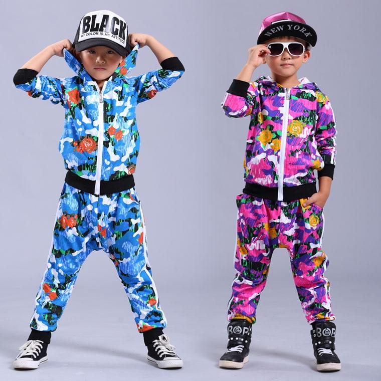 New fashion  Spring Autumn childrens clothing set Camo Flower Print Costumes kids sport suits Hip Hop dance pant &amp; sweatshirt<br><br>Aliexpress