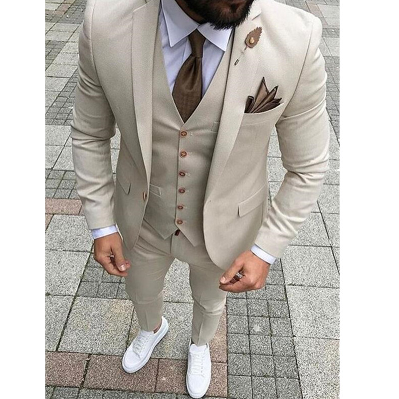 3-1 Custom Made New Style Beige Men Suits Slim Fit 3 Piece Groom Tuxedos PromParty Suits Men Blazer (Jacket+Vest+Pants)